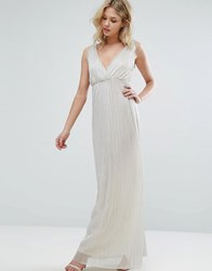 Oh My Love Pleated Grecian Maxi Dress Silver Shimmer