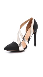 L.A.M.B. Lynn Asymmetrical Strappy Pumps Black