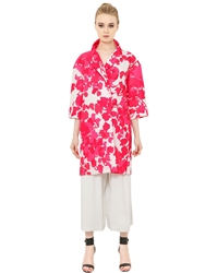 Space Style Concept Floral Printed Techno Duchesse Coat Fuchsia