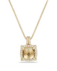 David Yurman Chatelaine Pave Bezel Pendant Necklace With Champagne Citrine And Diamonds In 18K Gold Yellow White