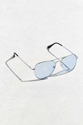 Urban Outfitters Blue Knoxville Aviator Sunglasses Silver