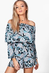 Boohoo Paisley Off The Shoulder Double Frill Playsuit Multi