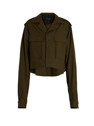 Haider Ackermann Raw Edge Wool Cropped Jacket Khaki