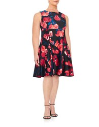 Ivanka Trump Plus Floral Fit And Flare Dress Black Sunset