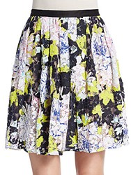 French Connection Botanical Lace Pleated Skirt Acid Blond