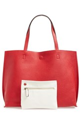 Street Level Reversible Faux Leather Tote And Wristlet Red Red Ivory