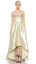Notte By Marchesa Strapless Brocade Gown Gold