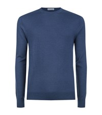 Gieves And Hawkes Silk Blend Crew Neck Jumper Male Blue