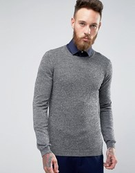 Asos Crew Neck Jumper In Merino Wool Black And White Twist Grey
