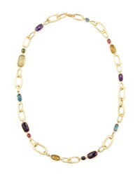 Murano 18K Multi Stone Large Link Necklace 27'L Amethyst Marco Bicego