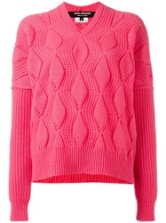 Comme Des Garcons Junya Watanabe Ribbed Jumper Pink Purple
