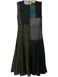 Versace Flared Perforated Detail Dress Women Silk Cotton Polyester 40 Black