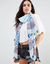 Liquorish Lightweight Printed Scarf White