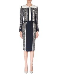 Roland Mouret Long Sleeve Cropped Jacket W Fringe Navy White Navy White