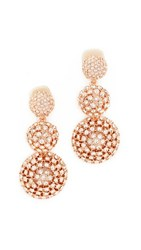 Oscar De La Renta Pave Crystal Dome Drop Clip On Earrings Silk