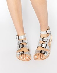 Hudson London H By Hudson Newton Gladiator Leather Flat Sandals Silver Calf