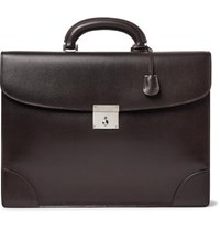 Valextra Cross Grain Leather Briefcase Dark Brown