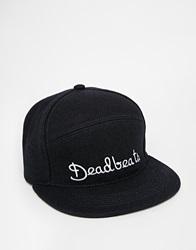 Asos Snapback Cap In Navy With Deadbeats Embroidery