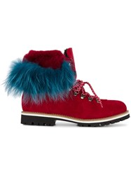 Mr And Mrs Italy Rabbit Fur Lined Boots Women Rabbit Fur Suede Rubber 35 Red