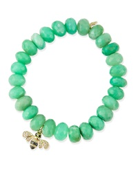 Sydney Evan Chrysoprase Beaded Bracelet With Diamond Bee Charm