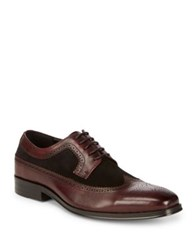 Tallia Sergio Longwing Brogue Leather And Suede Derbys Black Bordeaux