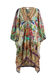 Camilla Tropical Print Embellished Silk Kaftan Multi