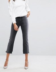 Evidnt High Rise Crop Mom Jeans With Frayed Hem Dark Grey Black