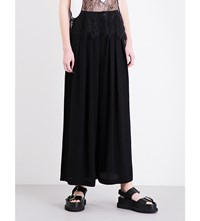 Mcq By Alexander Mcqueen Pleated Wide Leg Crepe Trousers Black