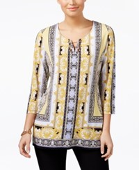 Jm Collection Printed Embellished Tunic Only At Macy's Satin Scarf