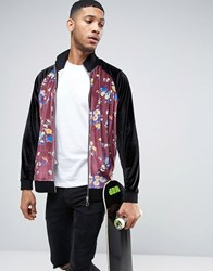 Asos Oversized Velour Jersey Jacket With Floral Sleeves Black