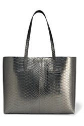 Tom Ford T Small Metallic Python Tote Anthracite