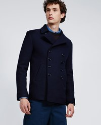 Aspesi Boiled Wool Peacoat Peak Boiled Navy Blue