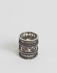 Asos Cut Out Embellished Ring In Silver Silver