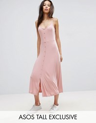 Asos Tall Rib Cupped Button Through Skater Midi Dress Nude Pink