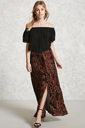 Forever 21 Contemporary Paisley Maxi Skirt Black Rust