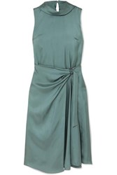 Brunello Cucinelli Twisted Silk Twill Dress Dark Green