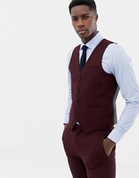 Only And Sons Skinny Waistcoat In Red