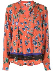 Derek Lam 10 Crosby Long Sleeve French Floral Peplum Blouse With Neck Red
