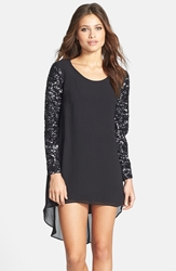 Dress The Population 'April' Sequin Sleeve High Low Chiffon Shift Dress Black
