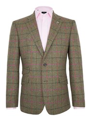 Paul Costelloe Men's Hatherley Herringbone Check Wool Blazer Green