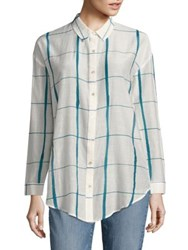 Eileen Fisher Windowpane Organic Cotton And Silk Shirt Chambray