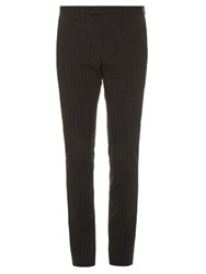 John Varvatos Striped Wool Blend Tailored Trousers Black Navy
