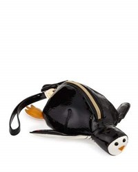 Betsey Johnson Penguin Faux Leather Wristlet Black