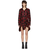 Alexander Wang Red And Black Check Tie Front Jumpsuit