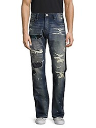 Cult Of Individuality Rebel Straight Distressed Denim Pants Blue Tux