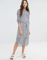 Influence Stripe Tie Waist Shirt Dress Black White