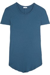 Splendid Ribbed Micro Modal And Supima Cotton Blend Jersey T Shirt Royal Blue