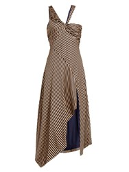Jonathan Simkhai Asymmetric Striped Gown Beige Navy