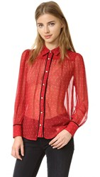 Frame Le Peasant Polka Dot Shirt Crimson And Nude Dot