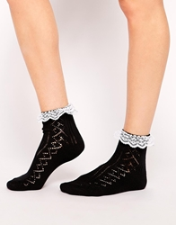 Asos Socks With Lace Trim Blackwhitetrim